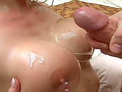Hannah Harper ends up having hot spunk on her great titties!